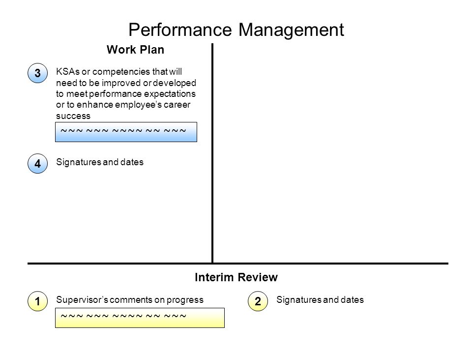 Performance Management Work Plan Interim Review ~~~ ~~~ ~~~~ ~~ ~~~ Supervisor's comments on progress 1 Signatures and dates 2 ~~~ ~~~ ~~~~ ~~ ~~~ KSAs or competencies that will need to be improved or developed to meet performance expectations or to enhance employee's career success 3 Signatures and dates 4