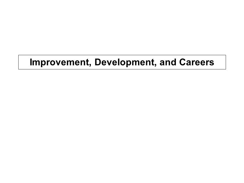 Improvement, Development, and Careers