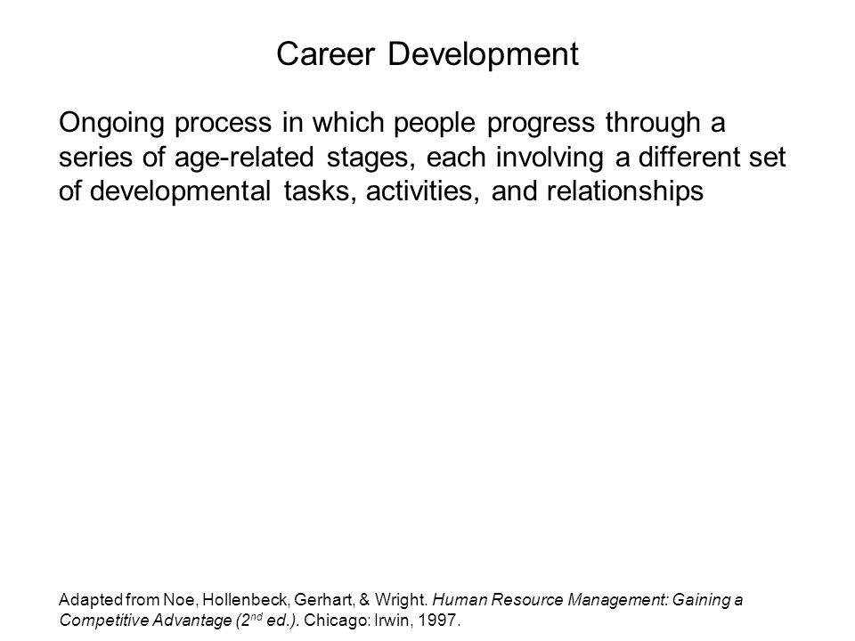 Career Development Ongoing process in which people progress through a series of age-related stages, each involving a different set of developmental tasks, activities, and relationships Adapted from Noe, Hollenbeck, Gerhart, & Wright.