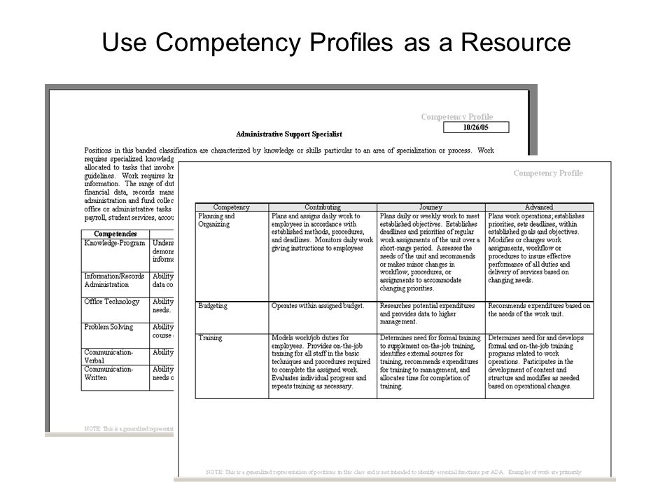 Use Competency Profiles as a Resource