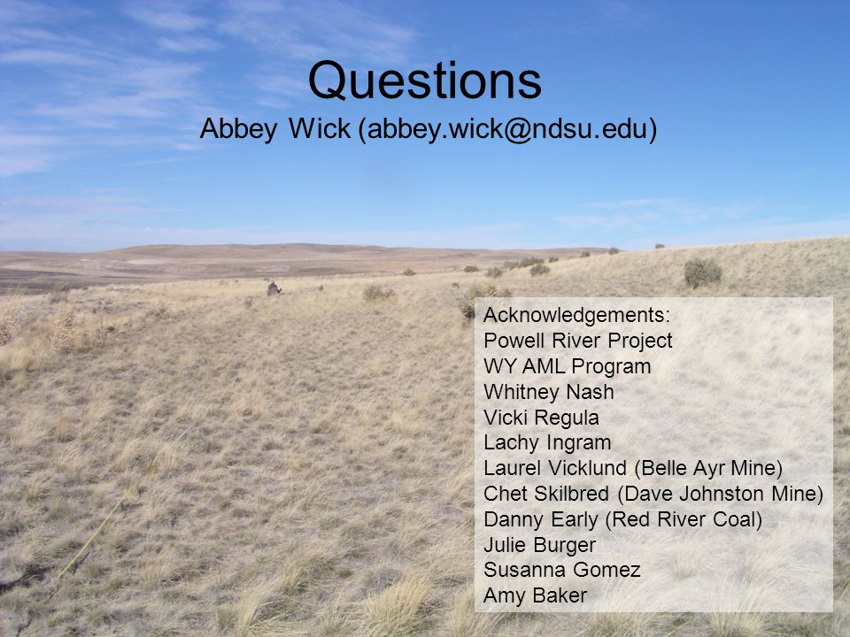 Questions Abbey Wick (abbey.wick@ndsu.edu) Acknowledgements: Powell River Project WY AML Program Whitney Nash Vicki Regula Lachy Ingram Laurel Vicklun