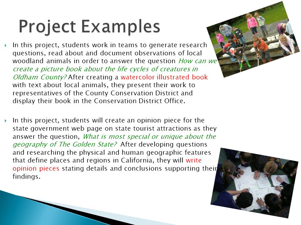  In this project, students work in teams to generate research questions, read about and document observations of local woodland animals in order to answer the question How can we create a picture book about the life cycles of creatures in Oldham County.
