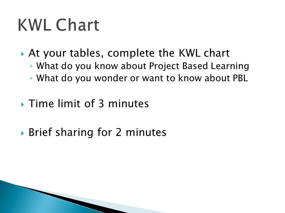  At your tables, complete the KWL chart ◦ What do you know about Project Based Learning ◦ What do you wonder or want to know about PBL  Time limit of 3 minutes  Brief sharing for 2 minutes
