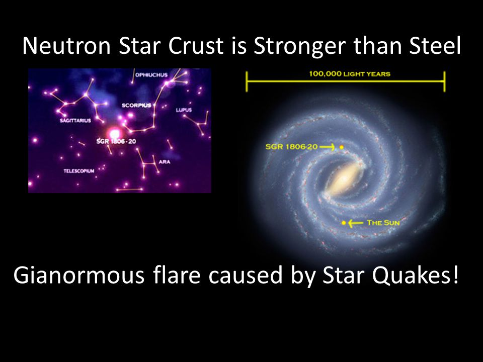Neutron Star Crust is Stronger than Steel Gianormous flare caused by Star Quakes!
