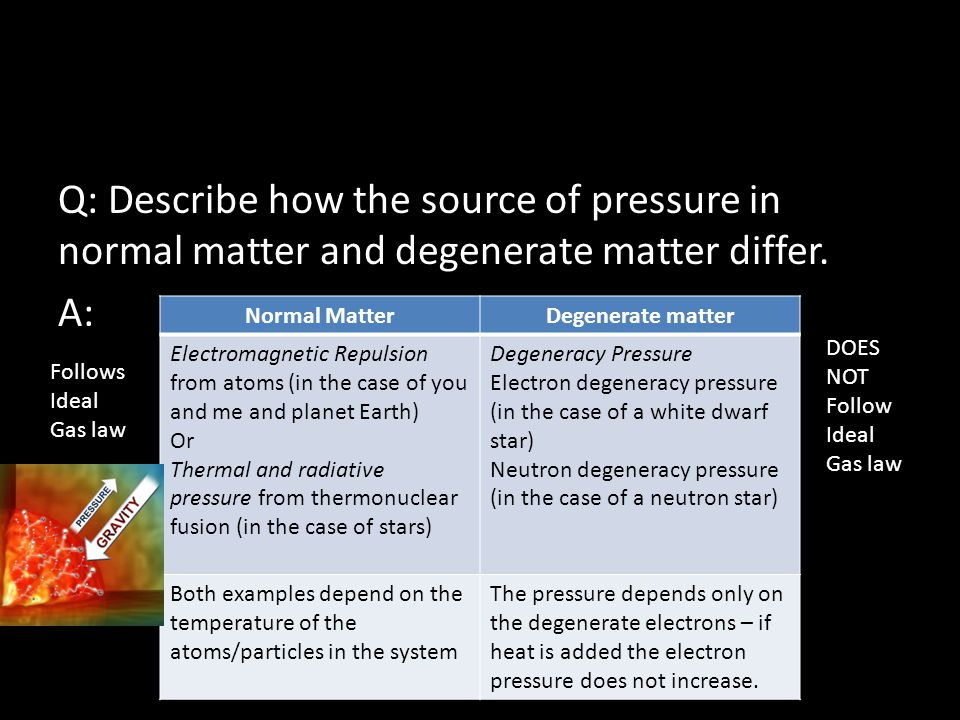 Q: Describe how the source of pressure in normal matter and degenerate matter differ.