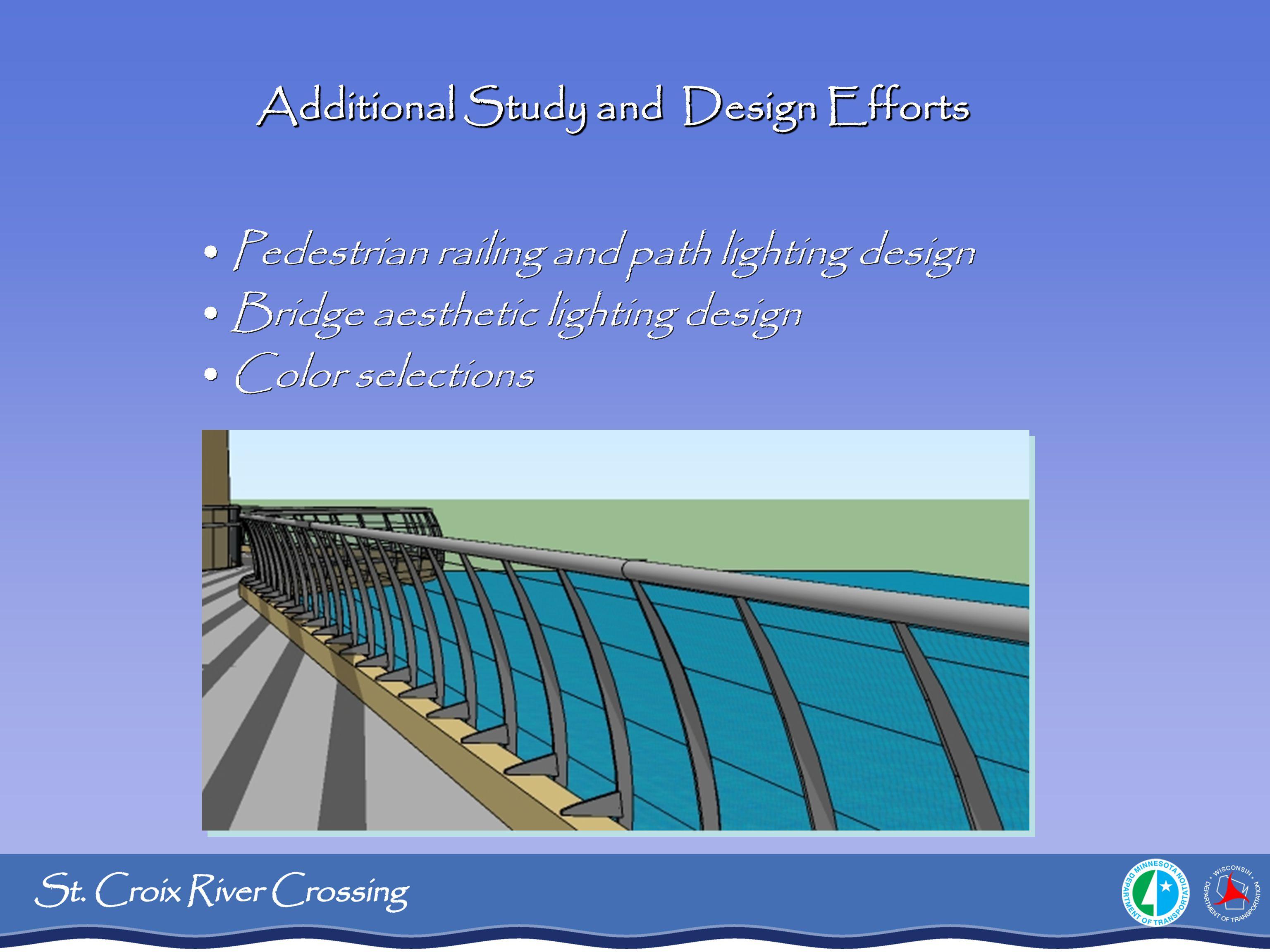 Pedestrian railing and path lighting design Bridge aesthetic lighting design Color selections Pedestrian railing and path lighting design Bridge aesth