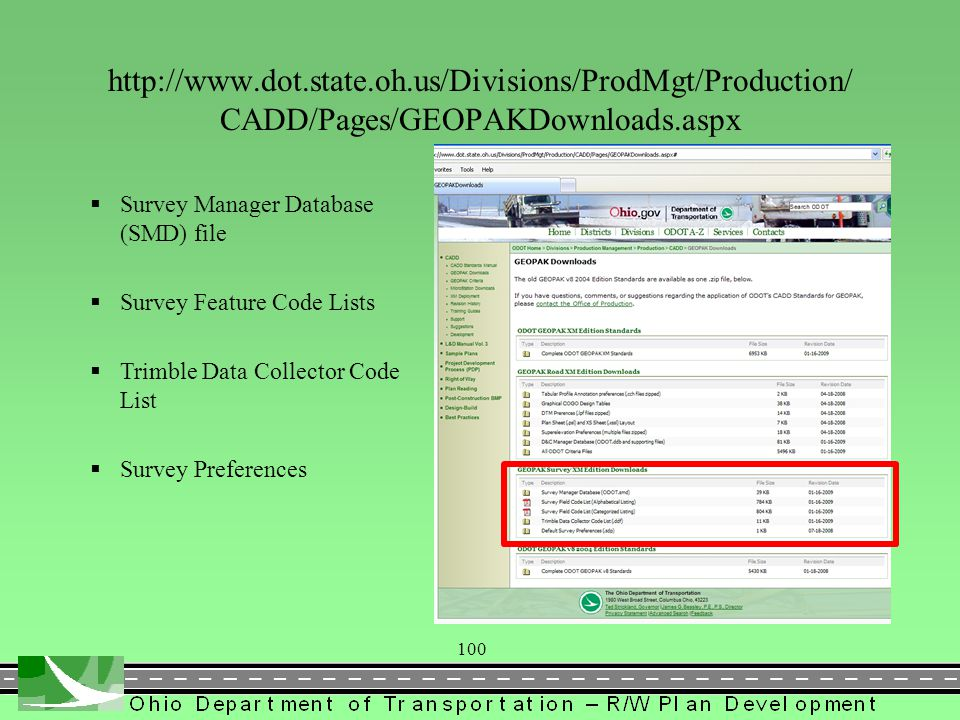 101 http://www.dot.state.oh.us/Divisions/ProdMgt/Production/CA DD/Pages/GPKManual.aspx  ODOT GEOPAK Survey Training Guide