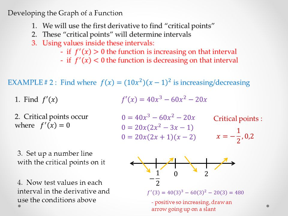 Developing the Graph of a Function 3. Set up a number line with the critical points on it 4.