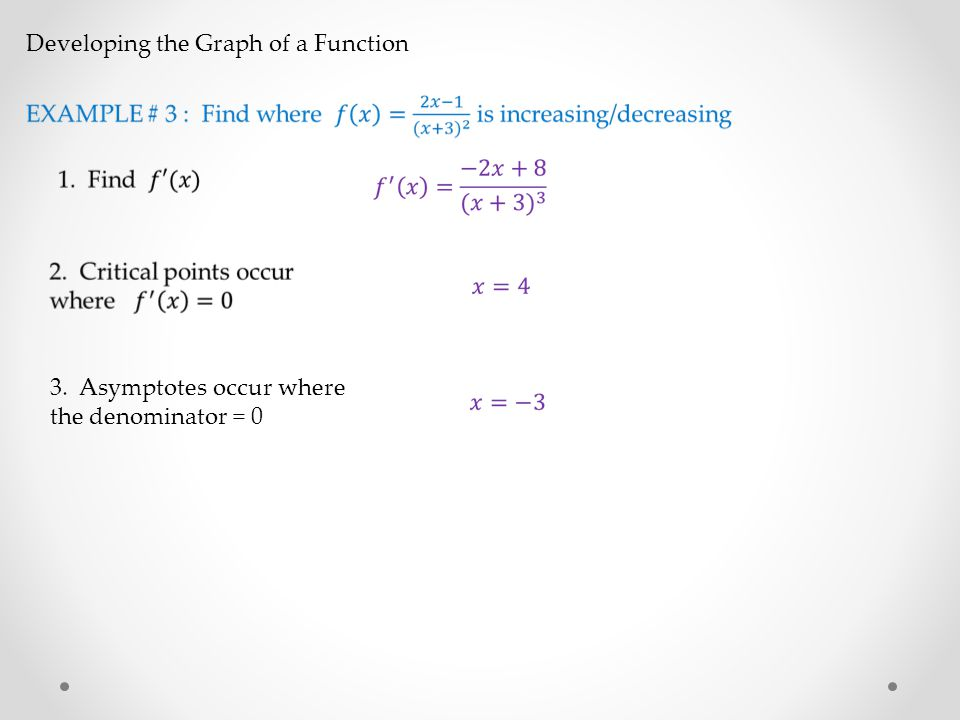 Developing the Graph of a Function 3. Asymptotes occur where the denominator = 0