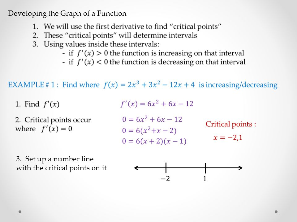 3. Set up a number line with the critical points on it