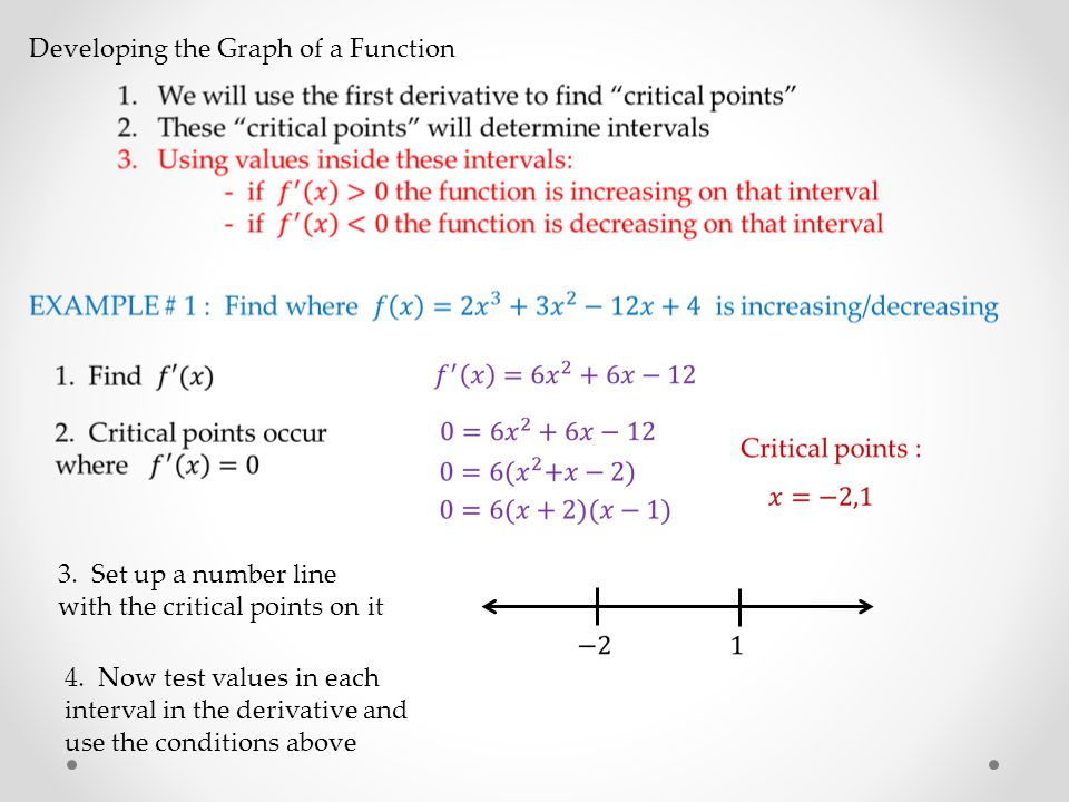 Developing the Graph of a Function 3.Set up a number line with the critical points on it 4.