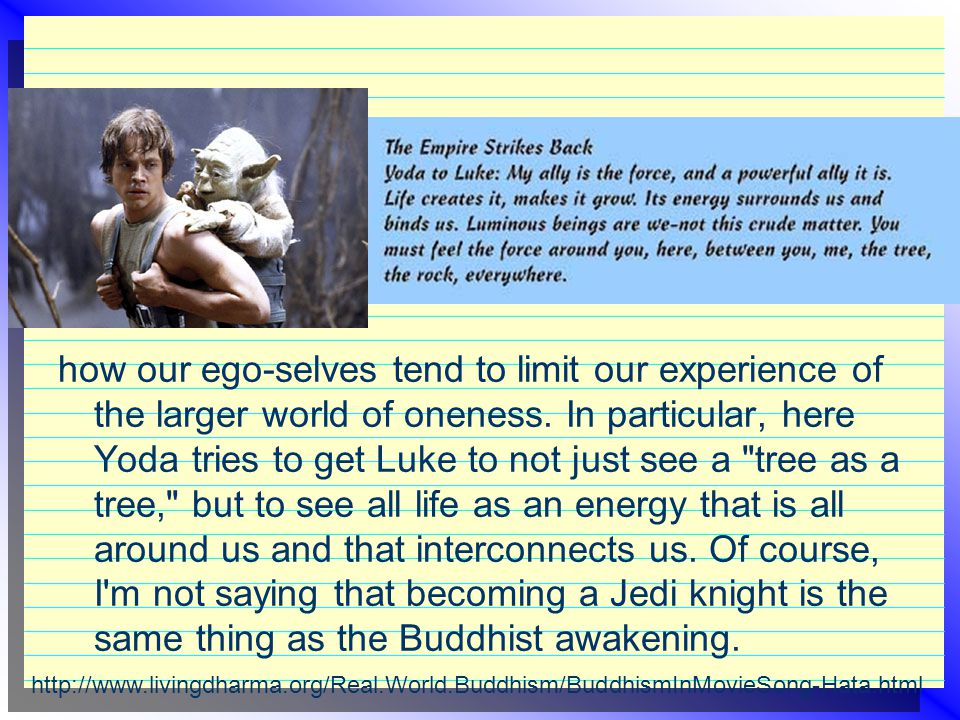 how our ego-selves tend to limit our experience of the larger world of oneness. In particular, here Yoda tries to get Luke to not just see a