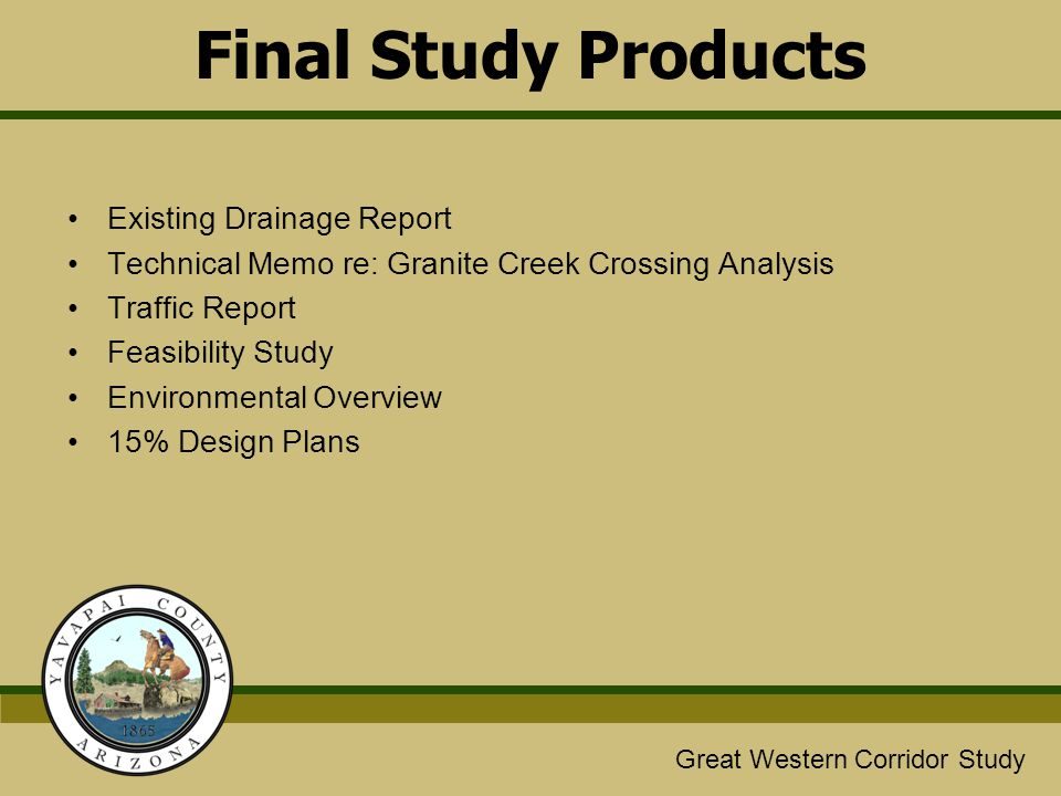 Great Western/Glassford Hill Extension Study Great Western Corridor Study Final Study Products Existing Drainage Report Technical Memo re: Granite Cre