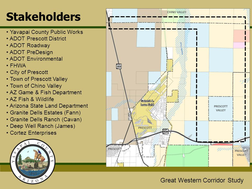Great Western/Glassford Hill Extension Study Great Western Corridor Study Stakeholders Yavapai County Public Works ADOT Prescott District ADOT Roadway