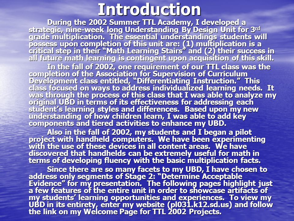 Introduction During the 2002 Summer TTL Academy, I developed a strategic, nine-week long Understanding By Design Unit for 3 rd grade multiplication.