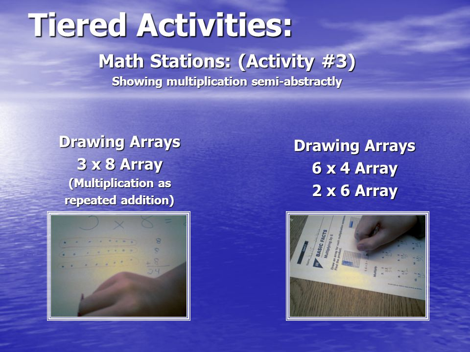 Tiered Activities: Arrays Around the Classroom 2 x 3 Array Math Stations: (Activity #4) Showing multiplication abstractly