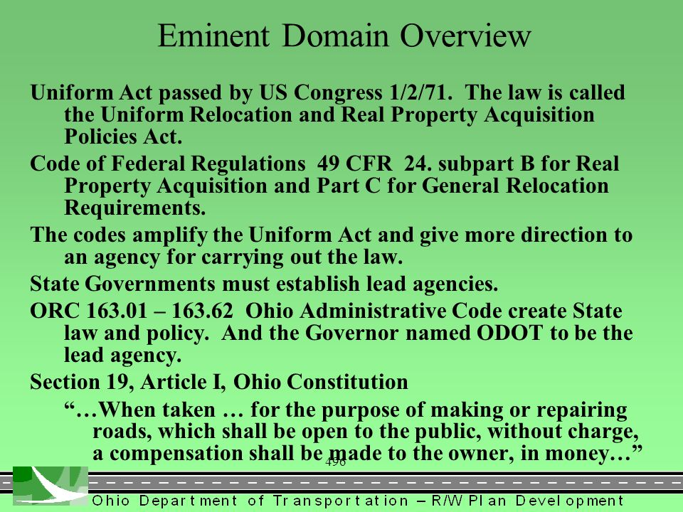 496 Eminent Domain Overview Uniform Act passed by US Congress 1/2/71.