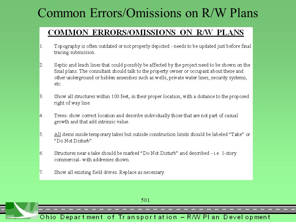 501 Common Errors/Omissions on R/W Plans