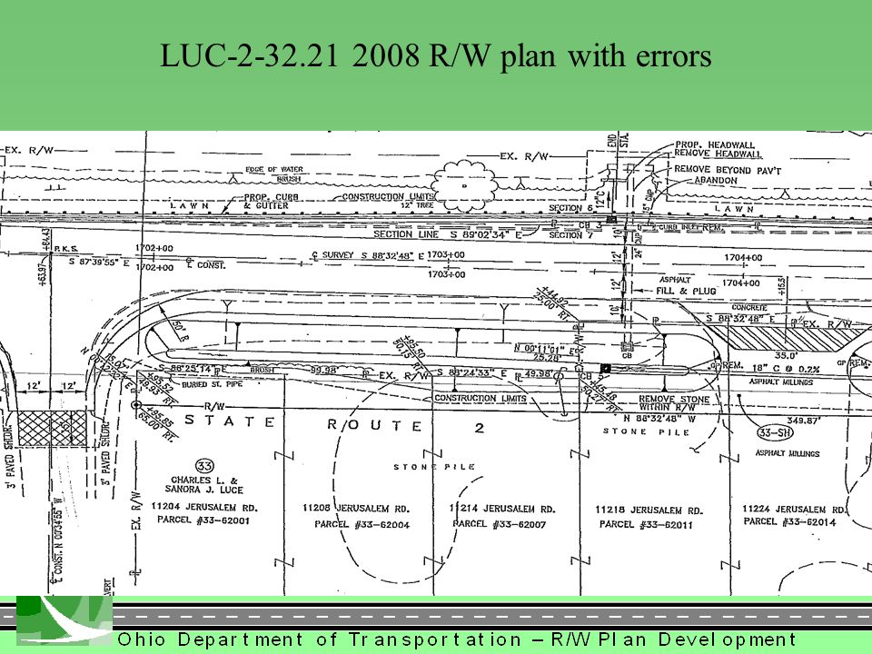 LUC LUC R/W plan with errors