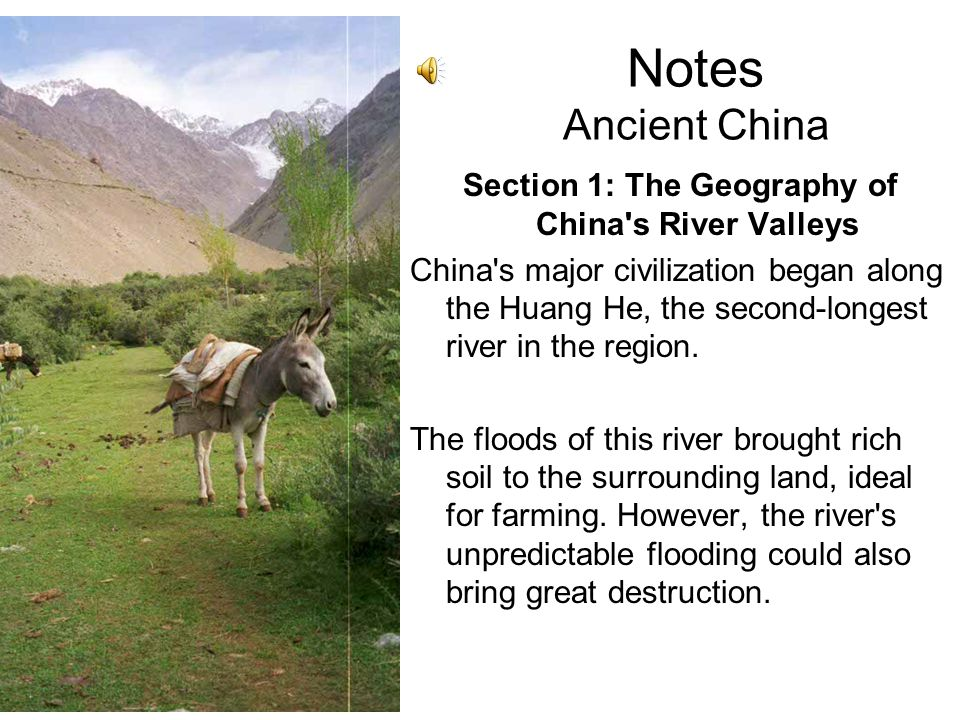 Notes Ancient China Summary Cultures formed in many of China's river valleys. Chinese civilization developed much on its own, with the Gobi Desert and