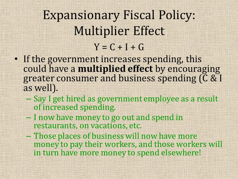 Expansionary Fiscal Policy: Multiplier Effect Y = C + I + G If the government increases spending, this could have a multiplied effect by encouraging g