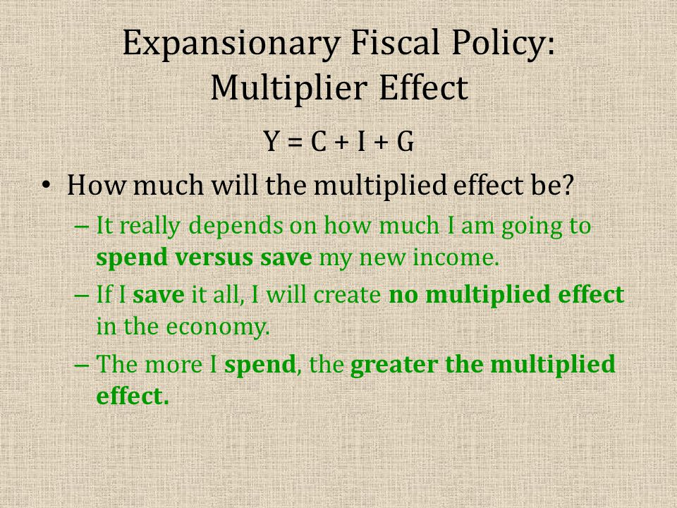 Multiplier Effect: Consumption Multiplier Here's how we find the potential multiplied effect: Consumption Multiplier = 1/(1-MPC) MPC = consumers' marginal propensity to consume (% of all income that is being spent in the economy).