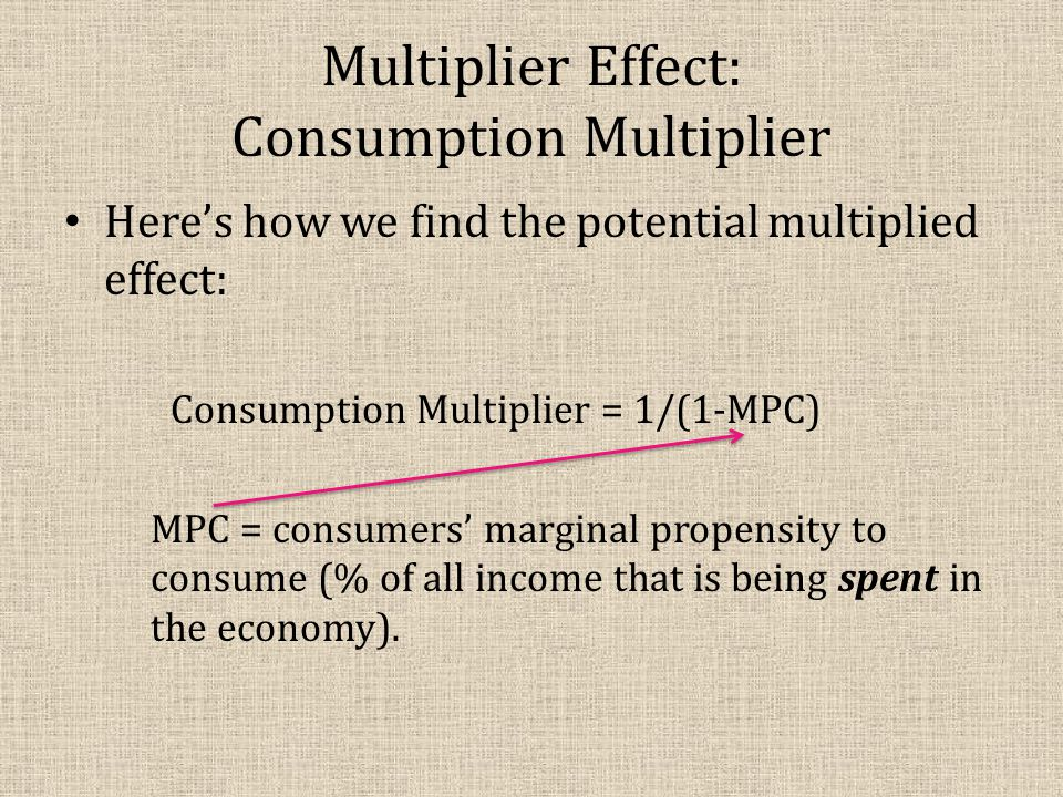 Multiplier Effect: Consumption Multiplier Here's how we find the potential multiplied effect: Consumption Multiplier = 1/(1-MPC) MPC = consumers' marg