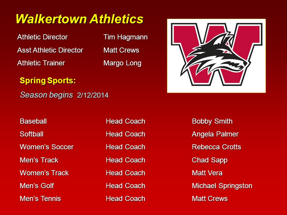Walkertown Athletics Athletic Director Tim Hagmann Asst Athletic Director Matt Crews Athletic TrainerMargo Long Spring Sports: Season begins 2/12/2014 BaseballHead CoachBobby Smith SoftballHead CoachAngela Palmer Women's SoccerHead CoachRebecca Crotts Men's TrackHead CoachChad Sapp Women's TrackHead Coach Matt Vera Men's GolfHead CoachMichael Springston Men's TennisHead CoachMatt Crews
