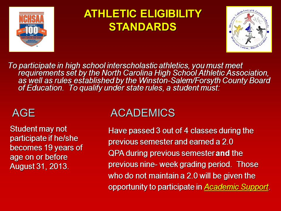 ATTENDANCE Cannot miss more than 10 days in a 90 day semester, this includes all absences (excused and unexcused)Cannot miss more than 10 days in a 90 day semester, this includes all absences (excused and unexcused) Have no more than eight consecutive semesters in attendance nor more than four seasons of participation in any sport since entering grade 9Have no more than eight consecutive semesters in attendance nor more than four seasons of participation in any sport since entering grade 9 Be in school 50 percent of any student day on which there is an athletic contestBe in school 50 percent of any student day on which there is an athletic contest Cannot participate in practice or games on days student is assigned OSS, ISS or have accumulated 4 or more time- outs in one day.Cannot participate in practice or games on days student is assigned OSS, ISS or have accumulated 4 or more time- outs in one day.