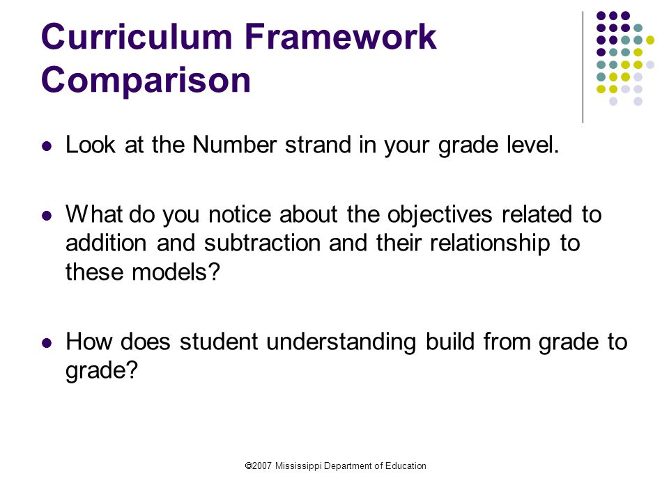 2007 Mississippi Department of Education Curriculum Framework Comparison Look at the Number strand in your grade level.