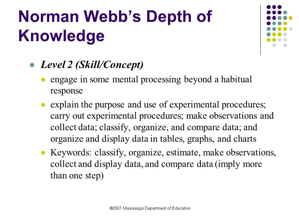  2007 Mississippi Department of Education Norman Webb's Depth of Knowledge Level 2 (Skill/Concept) engage in some mental processing beyond a habitual response explain the purpose and use of experimental procedures; carry out experimental procedures; make observations and collect data; classify, organize, and compare data; and organize and display data in tables, graphs, and charts Keywords: classify, organize, estimate, make observations, collect and display data, and compare data (imply more than one step)
