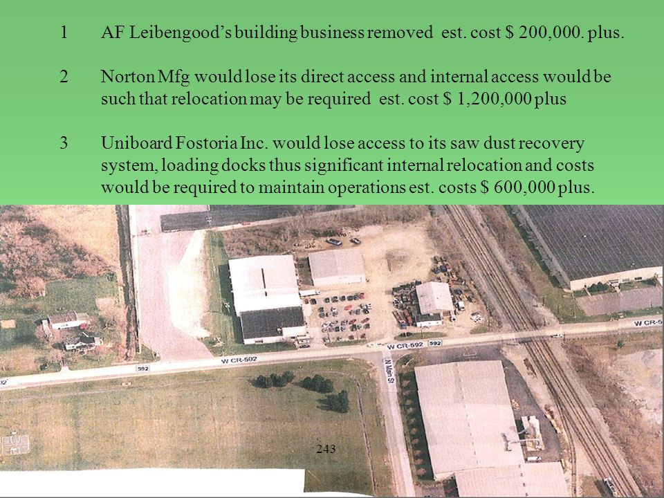 1AF Leibengood's building business removed est. cost $ 200,000. plus. 2Norton Mfg would lose its direct access and internal access would be such that