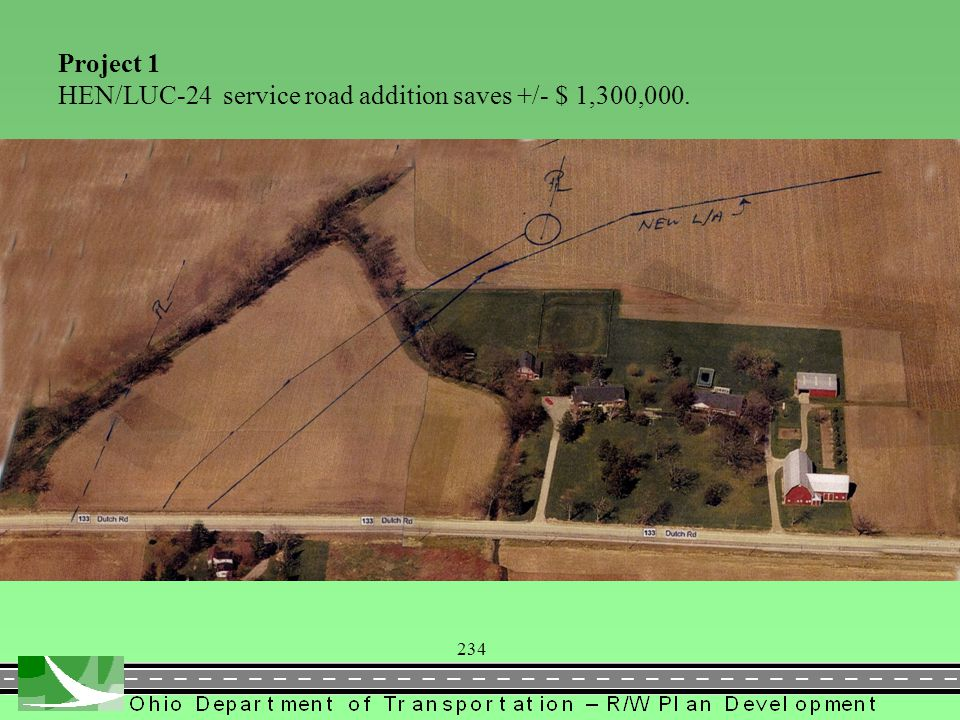 Project 1 HEN/LUC-24 service road addition saves +/- $ 1,300,000. 234