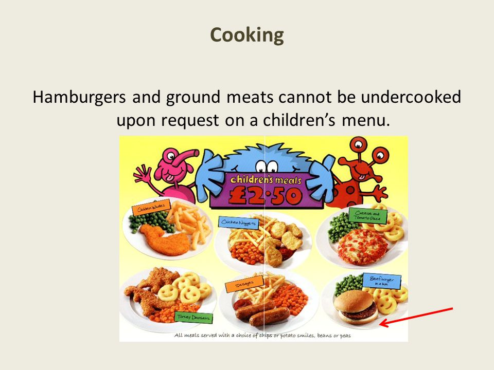 Cooking Hamburgers and ground meats cannot be undercooked upon request on a children's menu.