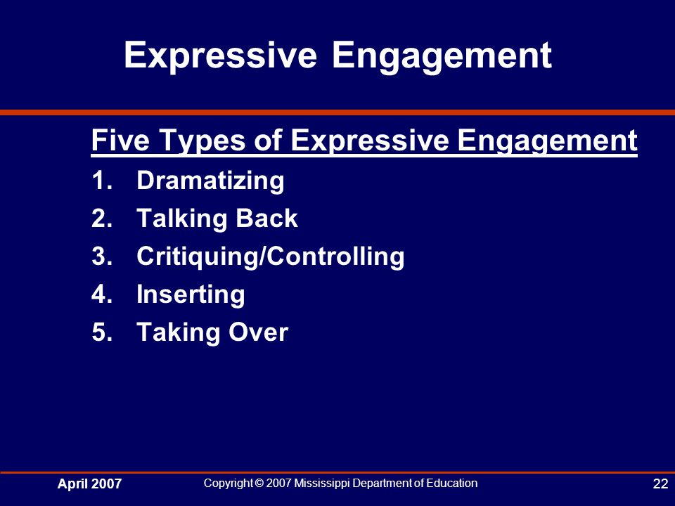 April 2007 Copyright © 2007 Mississippi Department of Education 22 Expressive Engagement Five Types of Expressive Engagement 1.Dramatizing 2.Talking Back 3.Critiquing/Controlling 4.Inserting 5.Taking Over