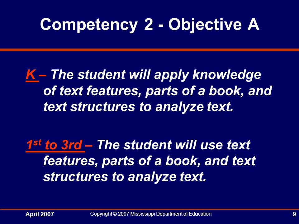April 2007 Copyright © 2007 Mississippi Department of Education 9 Competency 2 - Objective A K – The student will apply knowledge of text features, parts of a book, and text structures to analyze text.