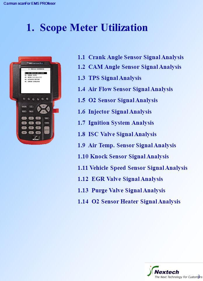 Carman scanFor EMS PROfesor 3 1. Scope Meter Utilization 1.1 Crank Angle Sensor Signal Analysis 1.2 CAM Angle Sensor Signal Analysis 1.3 TPS Signal An