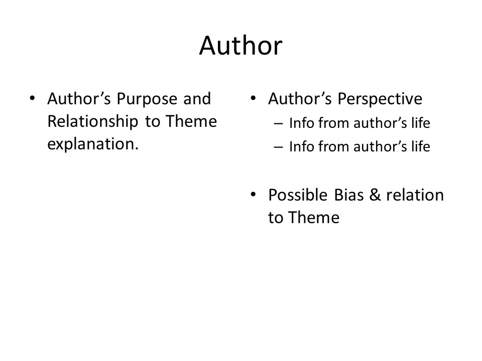 Author Author's Purpose and Relationship to Theme explanation.