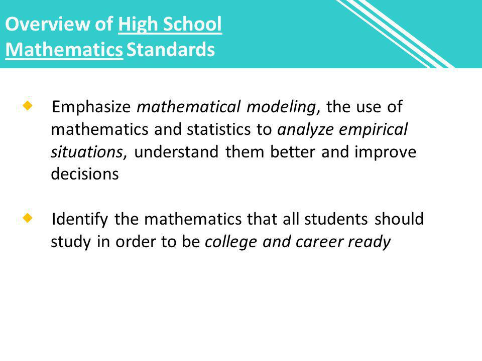 Overview of High School Mathematics Standards  Emphasize mathematical modeling, the use of mathematics and statistics to analyze empirical situations, understand them better and improve decisions  Identify the mathematics that all students should study in order to be college and career ready