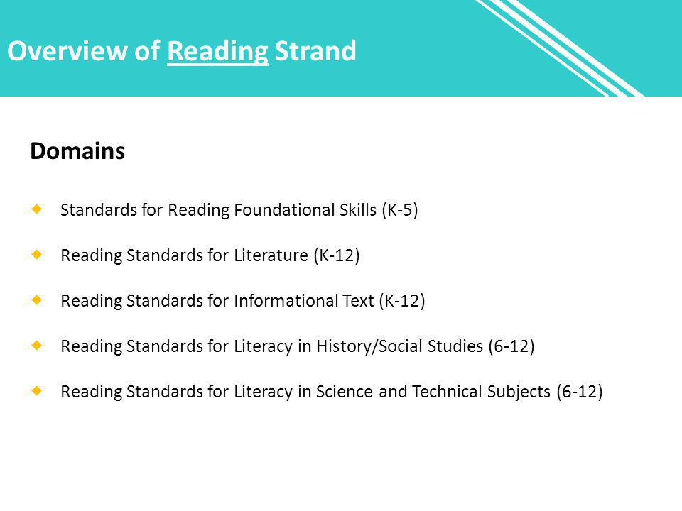 Overview of Reading Strand Domains  Standards for Reading Foundational Skills (K-5)  Reading Standards for Literature (K-12)  Reading Standards for Informational Text (K-12)  Reading Standards for Literacy in History/Social Studies (6-12)  Reading Standards for Literacy in Science and Technical Subjects (6-12)
