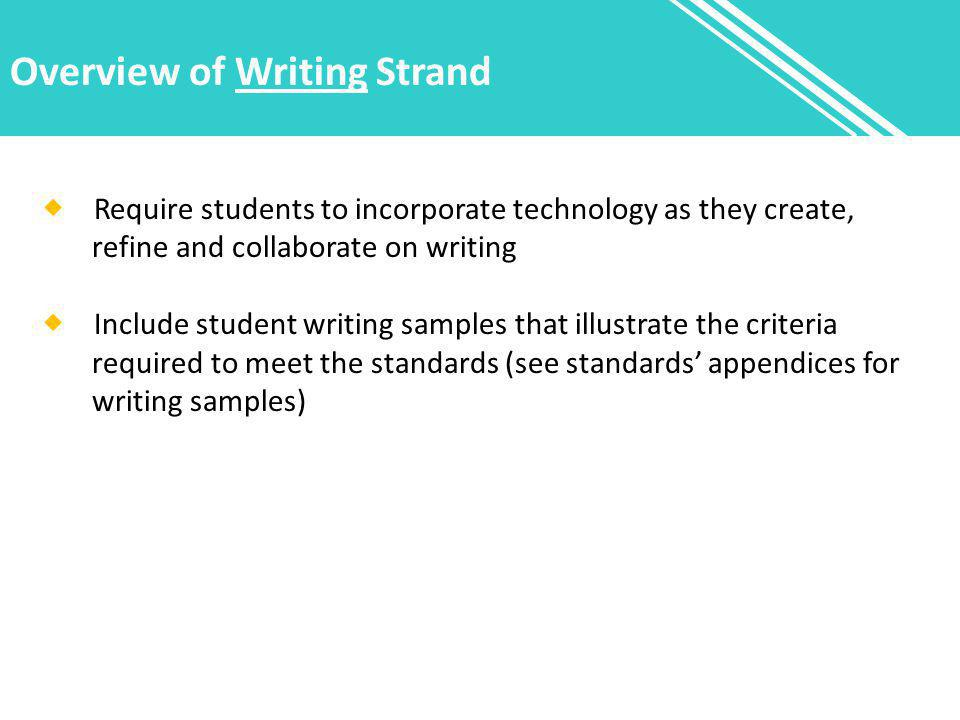 Overview of Writing Strand  Require students to incorporate technology as they create, refine and collaborate on writing  Include student writing sa
