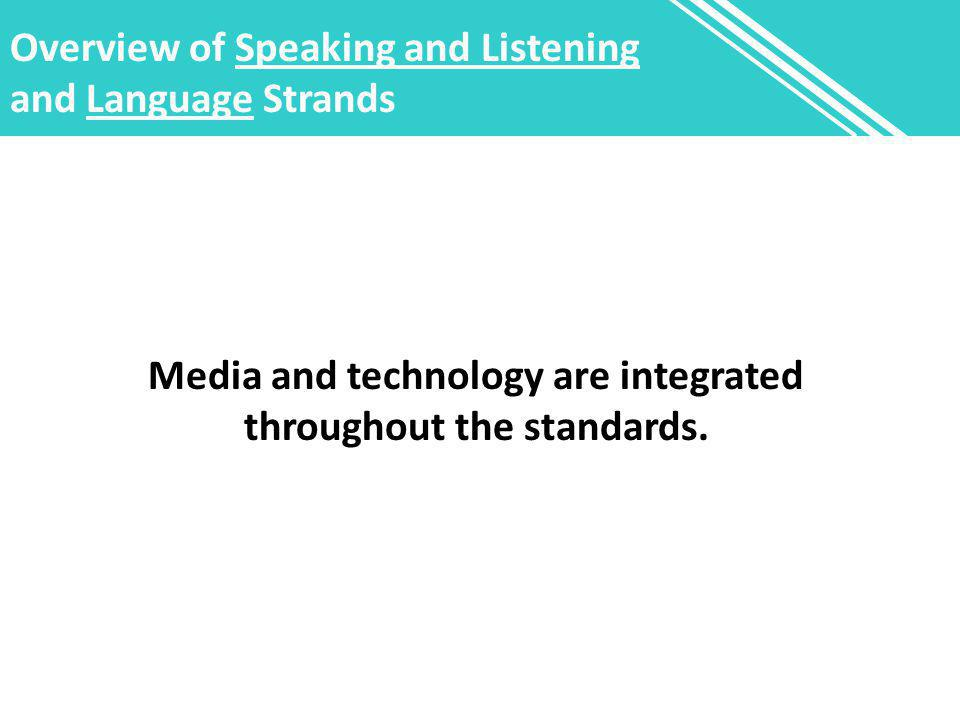 Overview of Speaking and Listening and Language Strands Media and technology are integrated throughout the standards.
