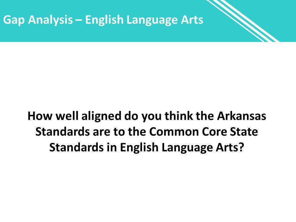 Gap Analysis – English Language Arts How well aligned do you think the Arkansas Standards are to the Common Core State Standards in English Language A