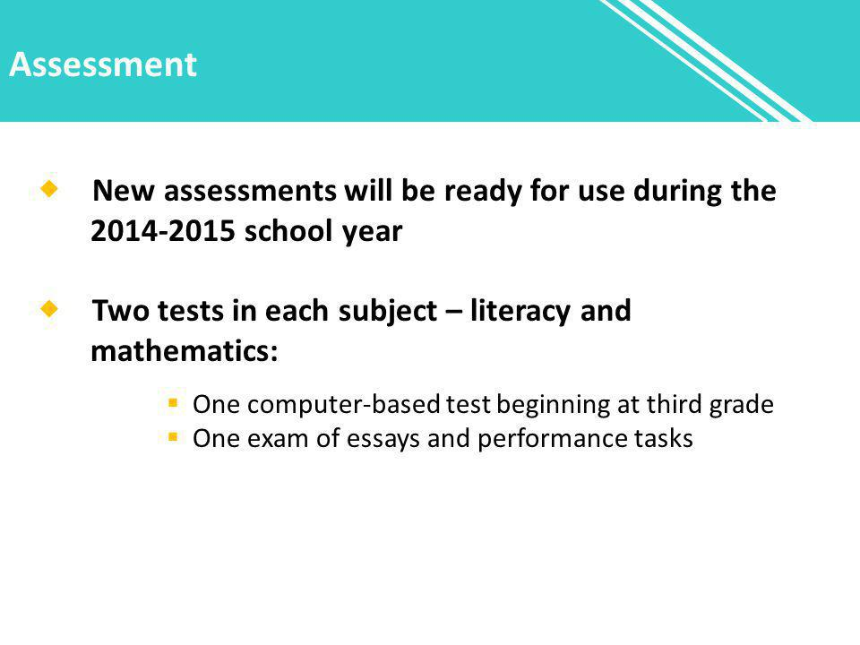 Assessment  New assessments will be ready for use during the 2014-2015 school year  Two tests in each subject – literacy and mathematics:  One computer-based test beginning at third grade  One exam of essays and performance tasks