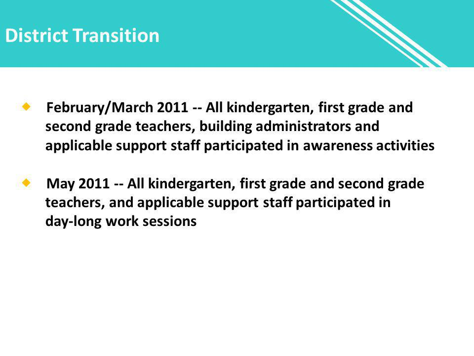 District Transition  February/March 2011 -- All kindergarten, first grade and second grade teachers, building administrators and applicable support s