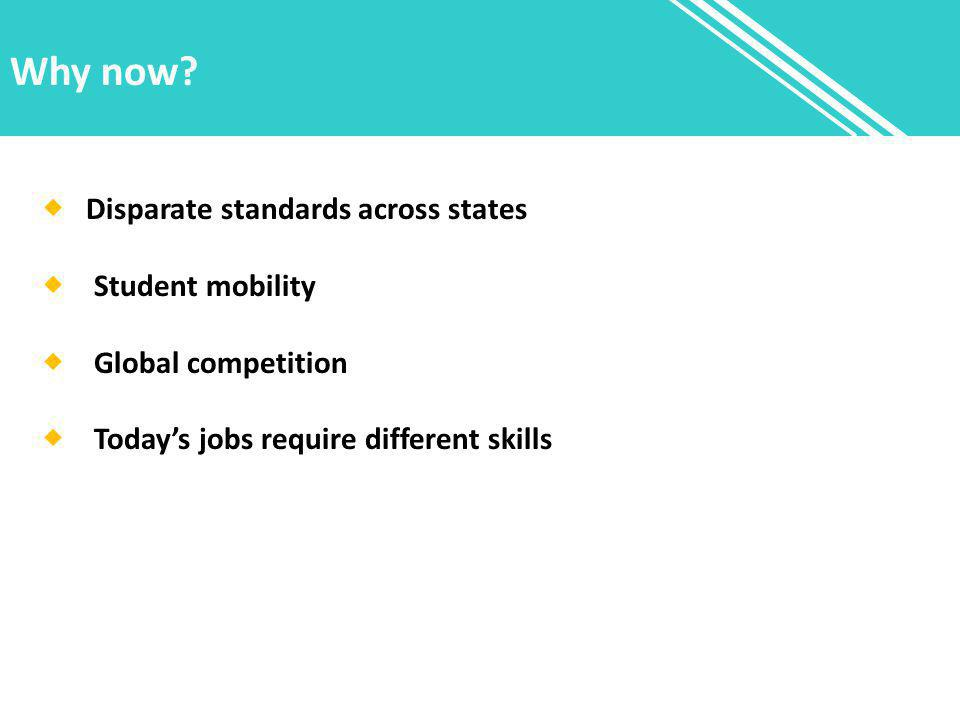 Why now?  Disparate standards across states  Student mobility  Global competition  Today's jobs require different skills