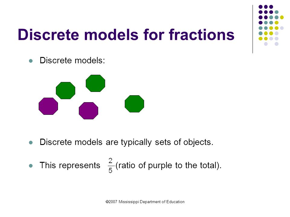  2007 Mississippi Department of Education Discrete models for fractions Discrete models: Discrete models are typically sets of objects. This represen