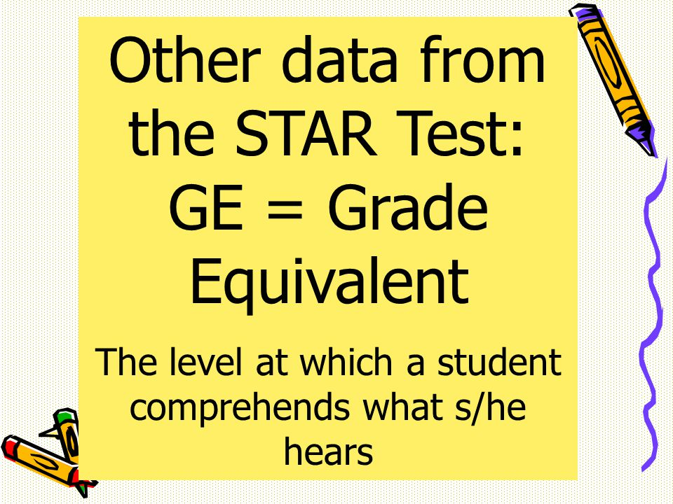 Other data from the STAR Test: GE = Grade Equivalent The level at which a student comprehends what s/he hears