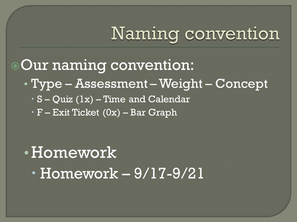  Our naming convention: Type – Assessment – Weight – Concept  S – Quiz (1x) – Time and Calendar  F – Exit Ticket (0x) – Bar Graph Homework  Homework – 9/17-9/21