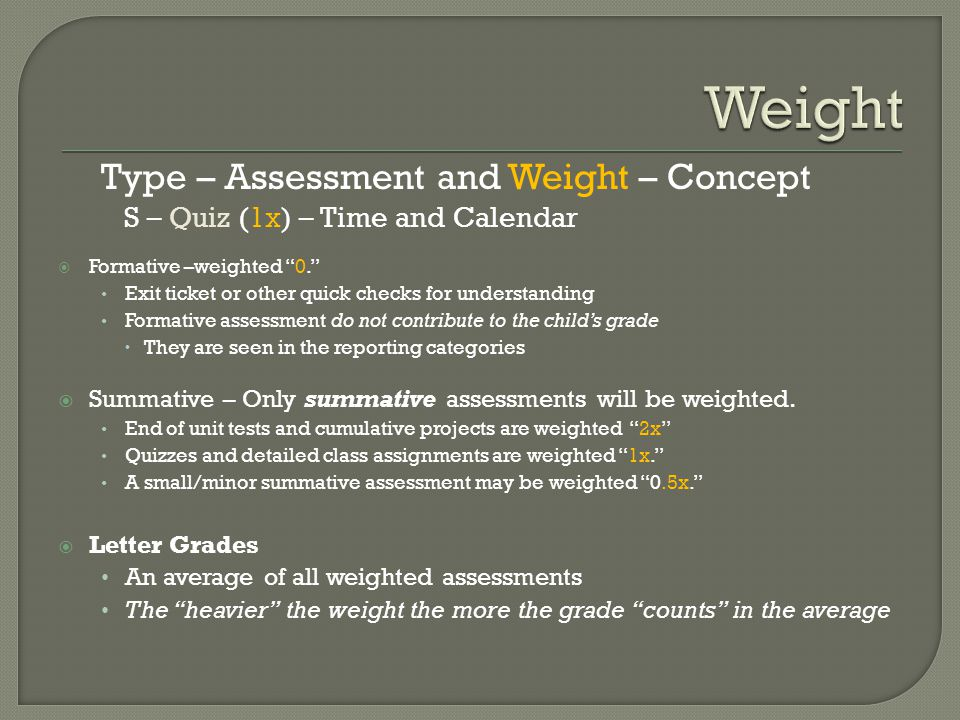 Type – Assessment and Weight – Concept S – Quiz (1x) – Time and Calendar  Formative –weighted 0. Exit ticket or other quick checks for understanding Formative assessment do not contribute to the child's grade  They are seen in the reporting categories  Summative – Only summative assessments will be weighted.